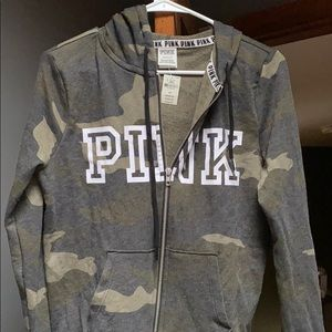 PINK camo zip up